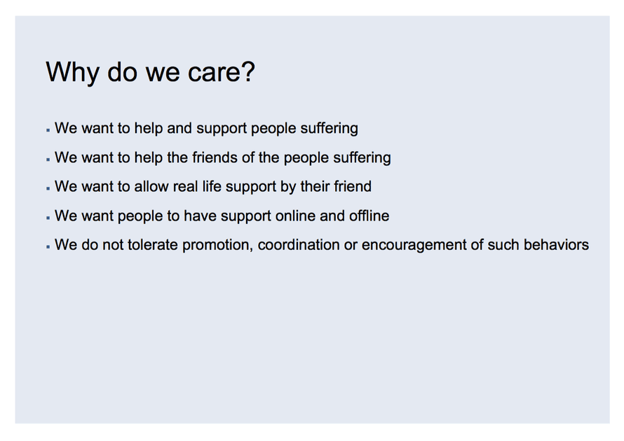 A slide from Facebook's guidance on self-harm and suicide.