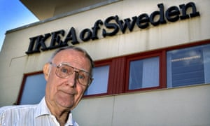 Ingvar Kamprad outside Ikea's HQ in Älmhult, southern Sweden, in 2002.