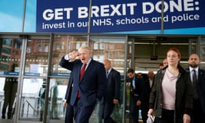 Boris Johnson outside the conference venue this morning after conducting his morning interviews.
