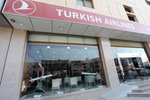 A Turkish Airlines office is empty after Saudi Arabia's retail stores urged customers to boycott Turkish products, in Riyadh, Saudi Arabia, on 18 October, 2020.