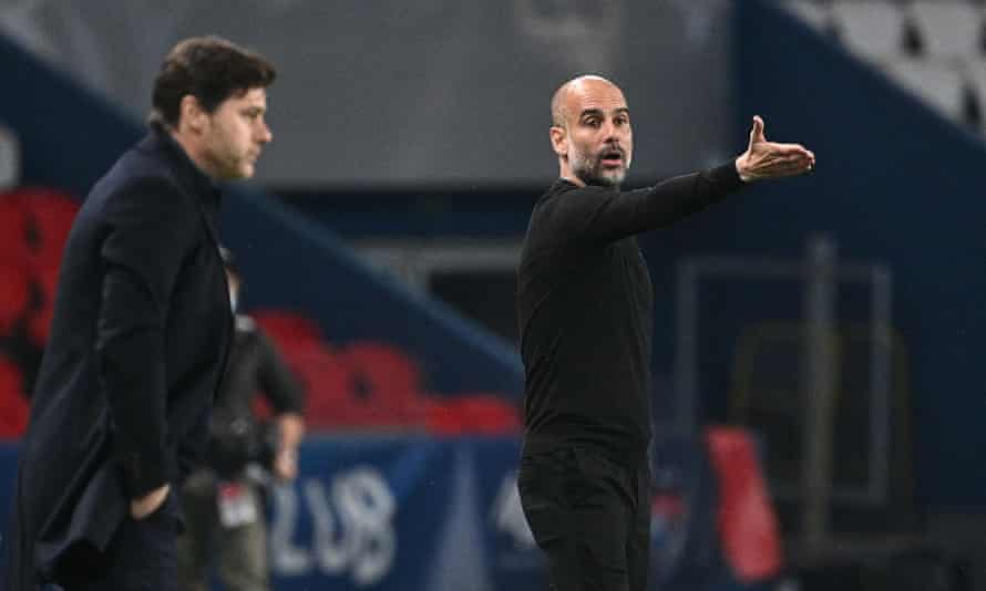 Pep Guardiola (right) instructs his players during their first leg win over Mauricio Pochettino's Paris Saint-Germain.