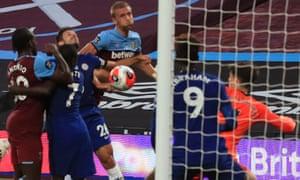 West Ham United's Tomas Soucek (centre) scores their equaliser.