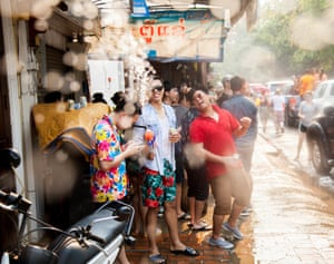 New Year in south-east Asia is celebrated by mass water fights. The people of beautiful Luang Prabang, Laos, take the tradition more seriously than most – it's a spectacle not to be missed