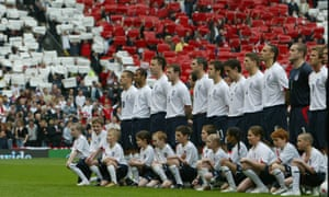 England line up for the national anthems against Northern Ireland during their 2006 World Cup qualifier.