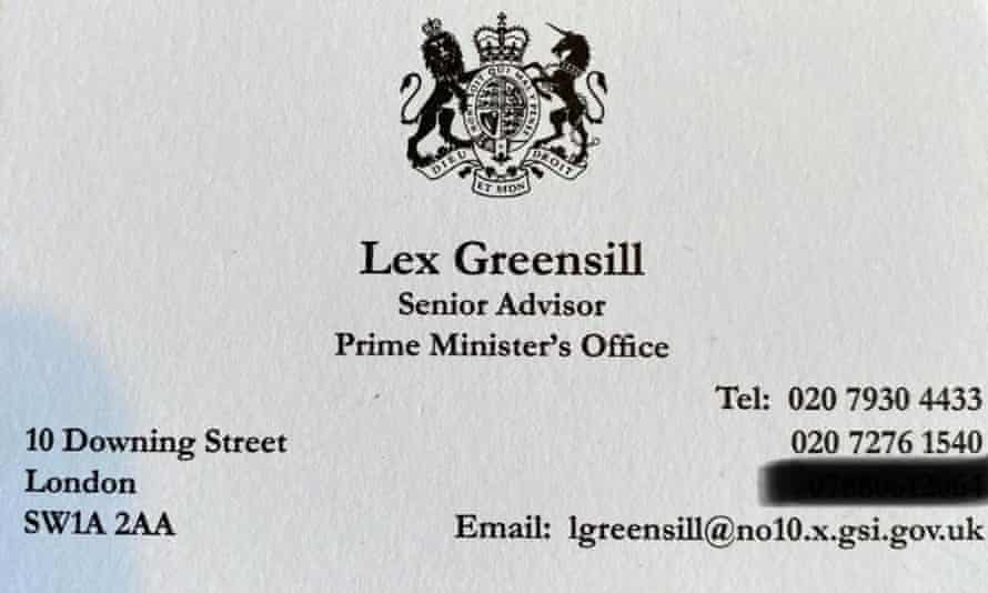 A business card for the financier Lex Greensill from when he worked as an adviser to then prime minister David Cameron.