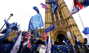 Pro- and anti-Brexit protesters gather outside Westminster, London.