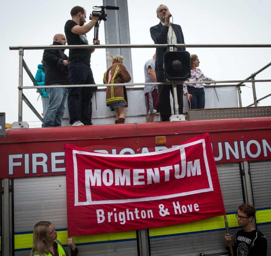 Jeremy Corbyn speaks to supporters in Regency Square in Brighton