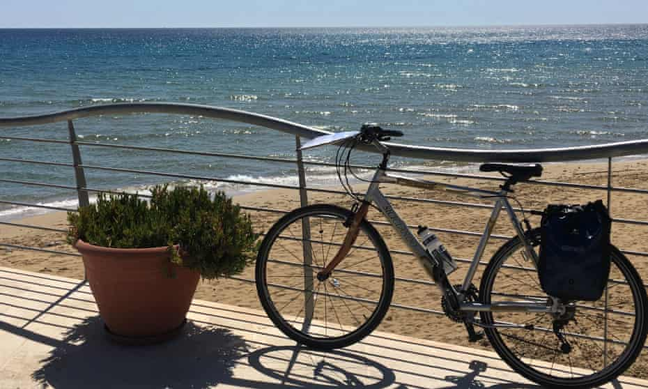 On the coastal route at Avola on the first day of cycling.