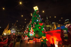 The tree in Melbourne, Australia was constructed from over half a million Lego bricks
