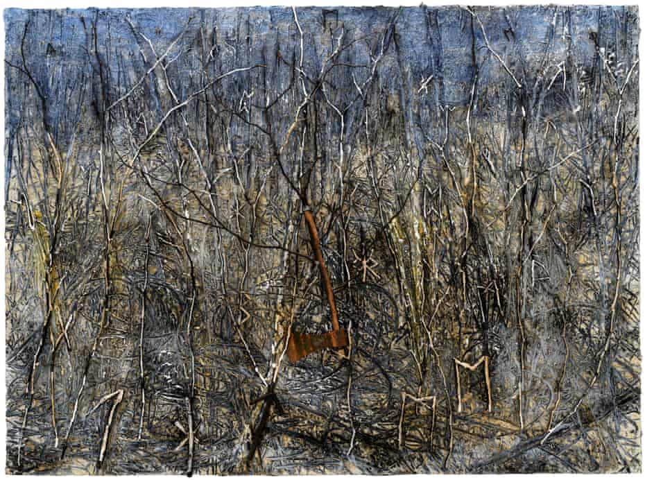 The boundless tangle of nature, with a real axe … from Kiefer's series Der Gordische Knoten.