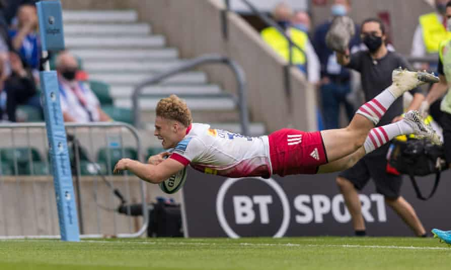 Louis Lynagh scores Harlequins' fifth try against Exeter in May's Premiership final at Twickenham