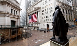A deserted Wall Street and the New York Stock Exchange.