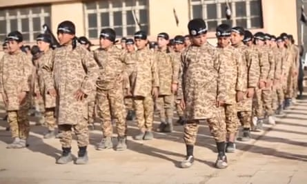 An Isis video apparently depicting children in a training camp in 2015.