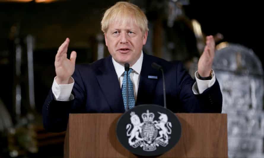 Boris Johnson speaking in Manchester on Saturday.