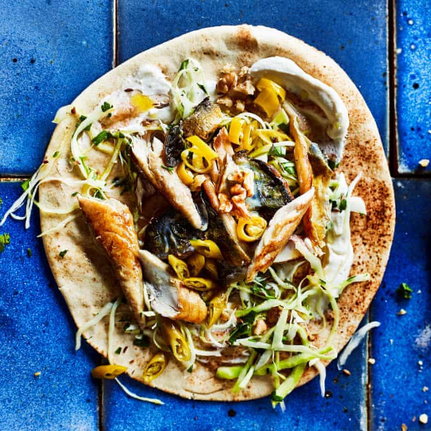 Mackerel kebabs, walnuts and chilli.