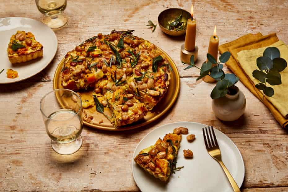 Anna Jones' squash, winter herb and popped butterbean pie