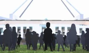 Cutouts of asylum seekers outside Parliament House