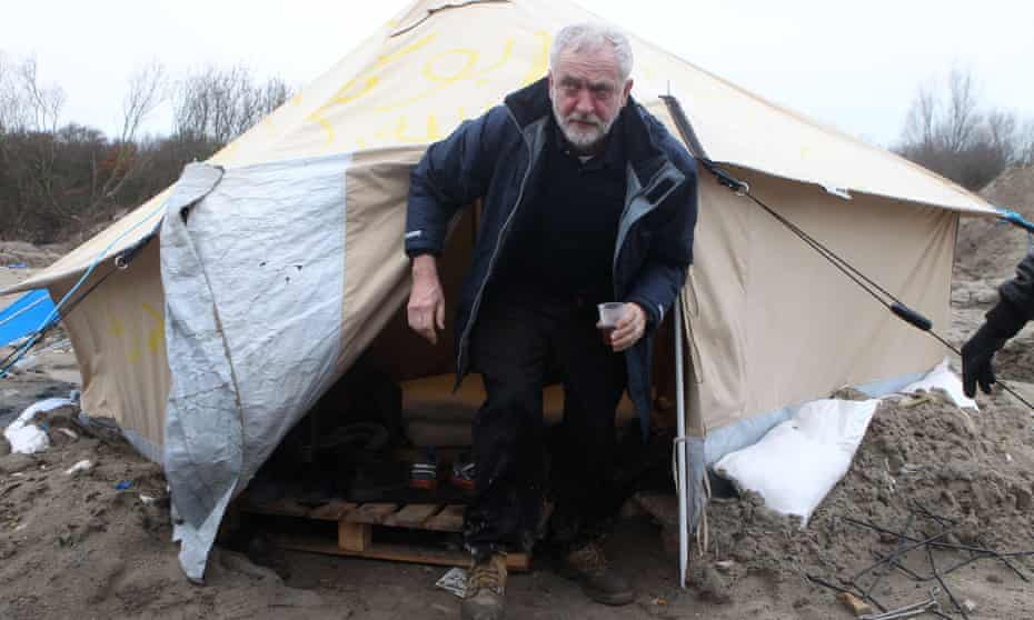 Jeremy Corbyn at a migrants' camp in Calais last week.