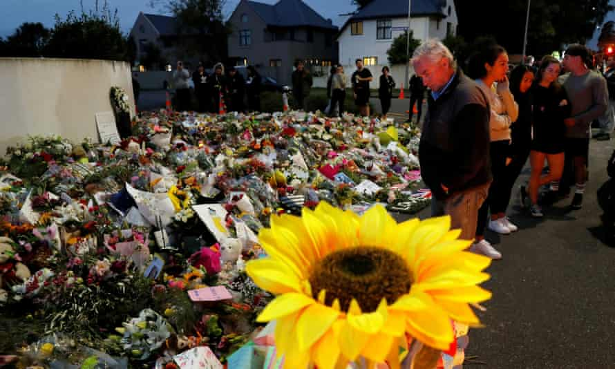 People visit a memorial for victims of the Christchurch mosque massacres in 2019.