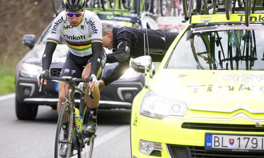 Slovakian cyclist Peter Sagan competes in the Strade Bianche race with unshaven legs.