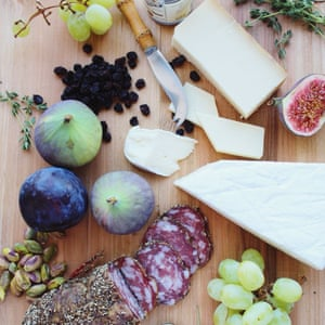 Cheese, salami, figs
