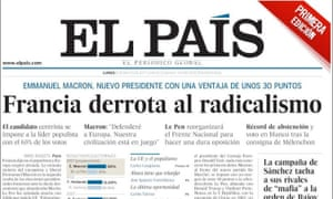 El Pais front page on victory of Emmanuel Macron - an example of a serious tabloid.