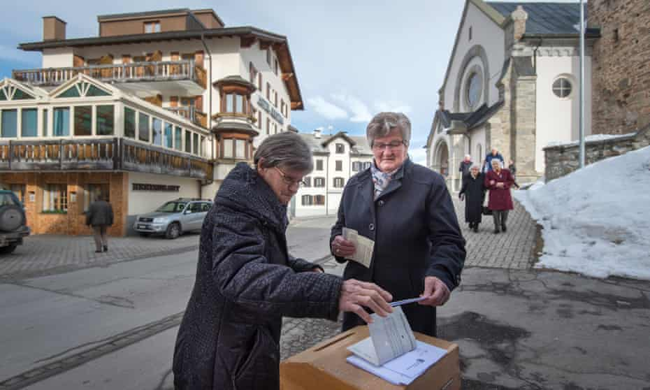 Women cast their votes in Switzerland referendum