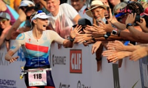 Lucy Charles celebrates after her unexpected second-place finish in Hawaii.