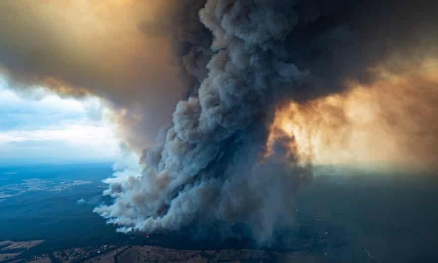 Smoke billows from a fire in Gippsland