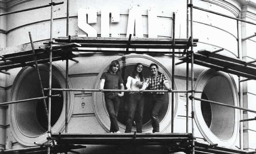 Stephen Woolley, right, and colleagues outside the Scala in Kings Cross in 1981.