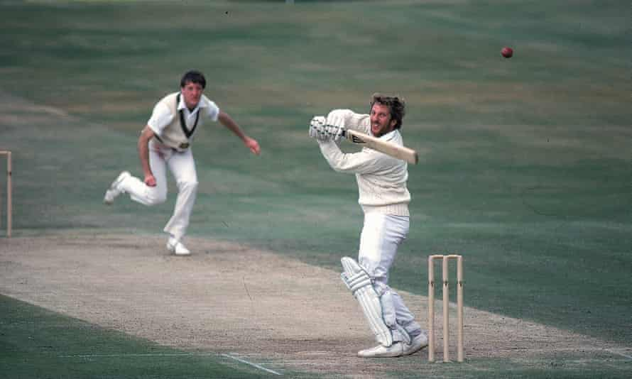 Ian Botham of England hooks a ball from Geoff Lawson of Australia on his way to 149 not out in 1981.