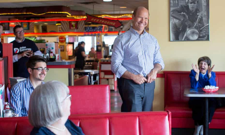 John Delaney talks with voters in Tilton, New Hampshire on 9 May 2019.