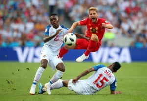 Dries Mertens of Belgium in action with Panama's Jose Luis Rodriguez and Erick Davis during the World Cup Group G match between Belgium and Panama at Fisht Stadium, Sochi, Russia, 18 June