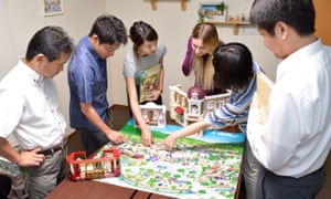 The R and D team planning the new Sylvanian town.