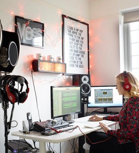 In the groove: Karen in her home studio.
