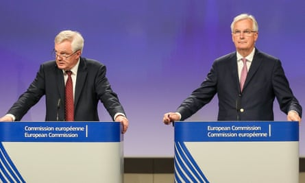 David Davis and Michel Barnier after the second round of Brexit talks in Brussels.