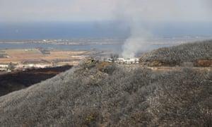 The fire-devastated landscape in Biguglia, on the French Mediterranean island of Corsica.