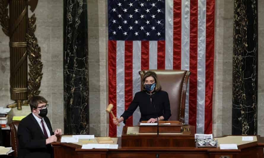 Nancy Pelosi presides over the vote to impeach Donald Trump for a second time.