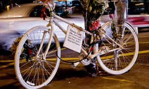 A cycle left as a protest by Bikes Alive at King's Cross, London.