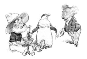 Bunyip Bluegum comes across Sam Sawnoff and Bill Barnacle eating Albert, the Pudding