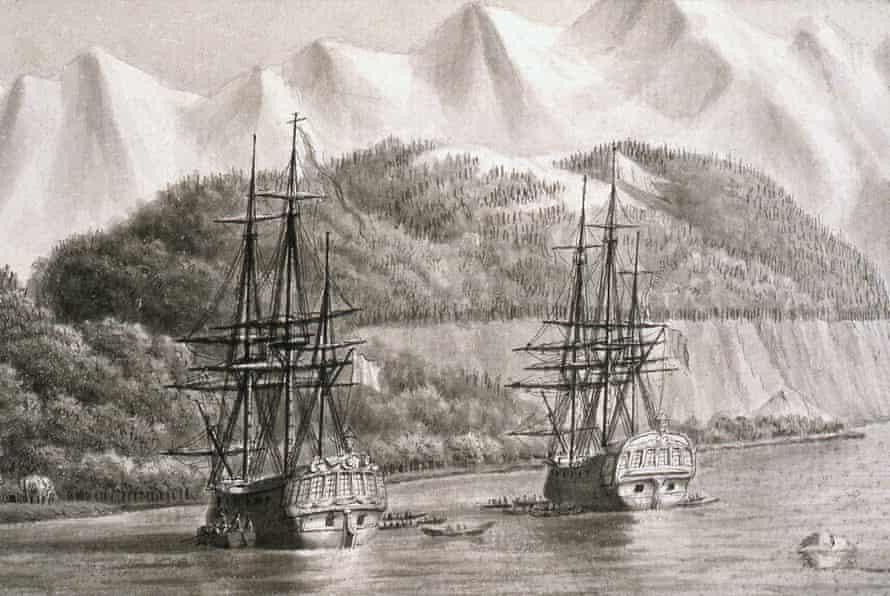 Ill-fated journey … L'Astrolabe and la Boussole in Alaska, probably 1786.