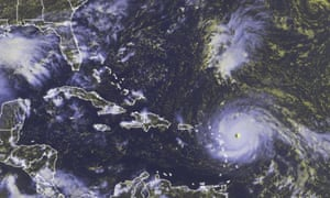 Hurricane Irma moving         westward toward the Leeward Islands.