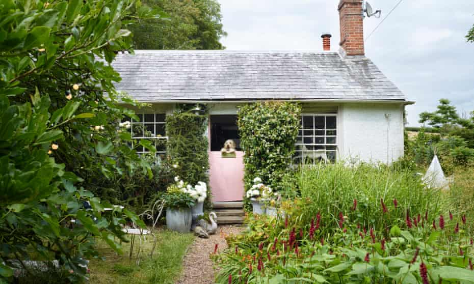 Single storey cottage with a pink stable door in the middle with a dog peering over the top, a path leading up to it and an abundant garden