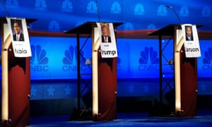 The podiums for Rubio, Trump and Carson are lined up in the center of the stage for the Republican presidential candidate debate in Boulder.