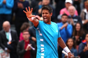 Fernando Verdasco celebrates victory over Dan Evans.