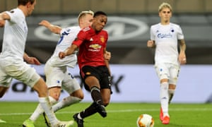 Anthony Martial is fouled by Andreas Bjelland to win a penalty for Man Utd v FC Copenhagen