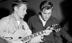 TV times … Scotty Moore and Elvis Presley preparing to appear on The Milton Berle Show in 1956.