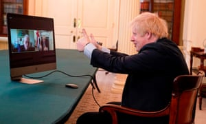 Boris Johnson speaking to 102-year-old war veteran Ernie Horsfall, from the cabinet room inside 10 Downing Street.