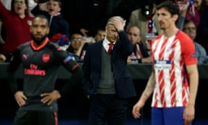 Arsène Wenger on the sidelines during the Europa League semi-final second-leg defeat against Atlético Madrid.