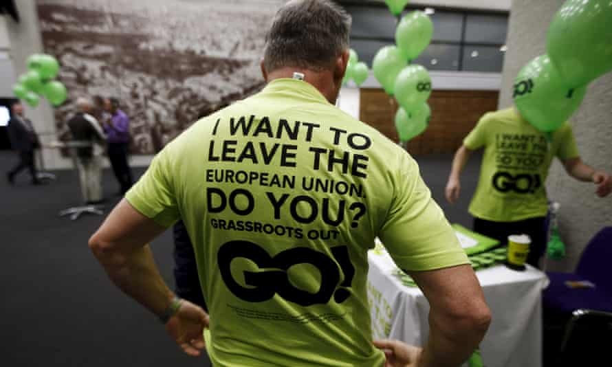 """A supporter of  """"Grassroots Out"""" at a rally in London"""